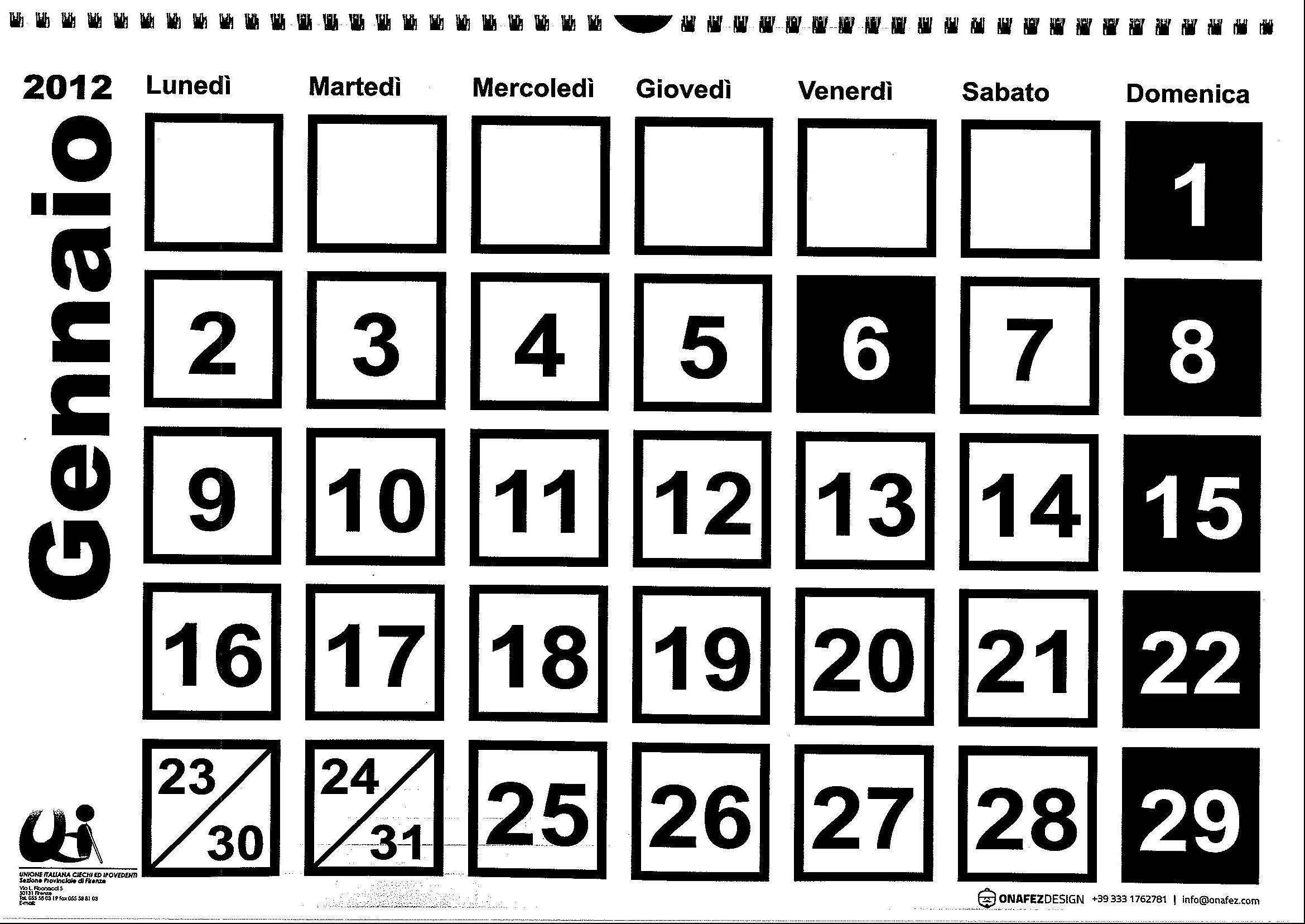 Calendario 2012 a caratteri ingranditi per ipovedenti